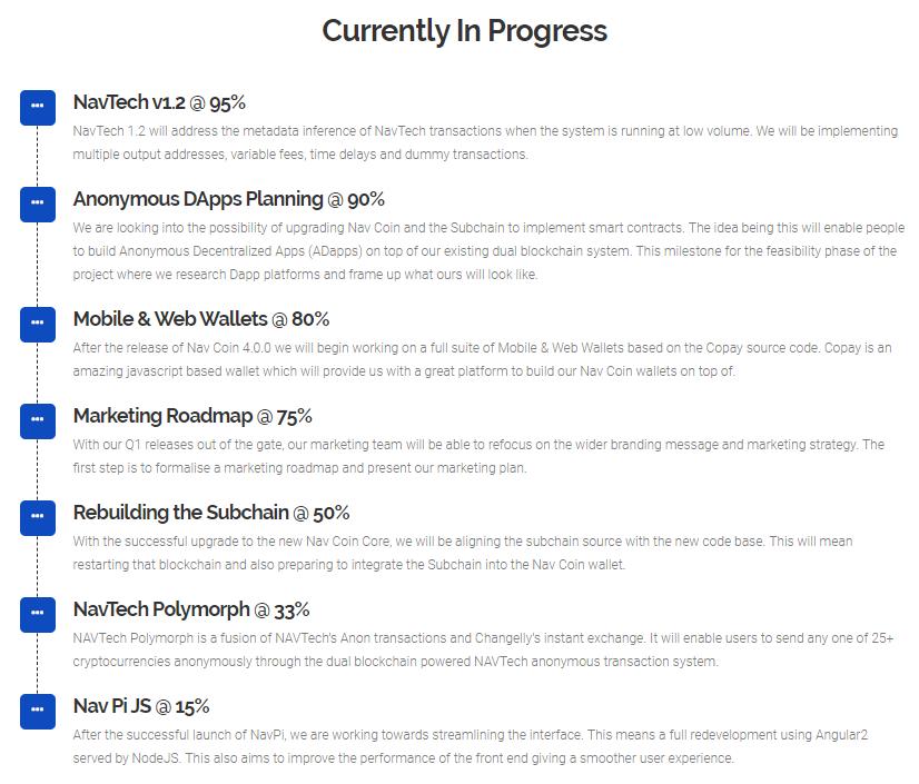 Các hạng mục đang được tiến hành trên lộ trình của NAV