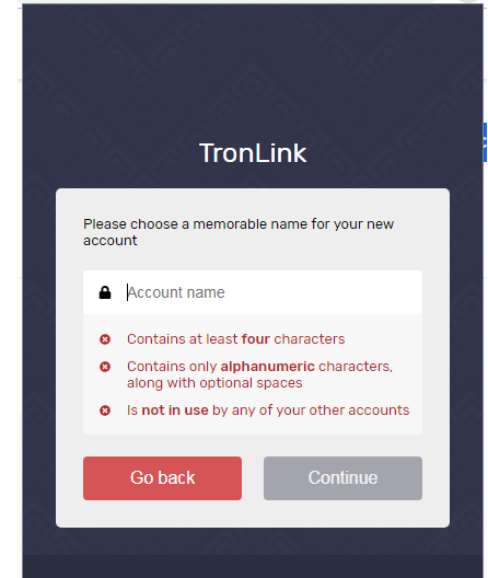 account name tronlink