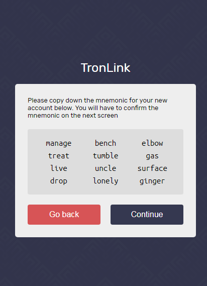 private key tronlink